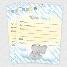 20 Baby Shower Invitations Boy Invites Elephant Favors Decorations Cards Animal