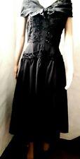 1940s Black Taffeta Calf Length Coctail Dress 36 inch Chest (12)