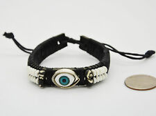 Eye Beads Leather Wristband Adjustable Men Women Boho Beach Biker Surfer