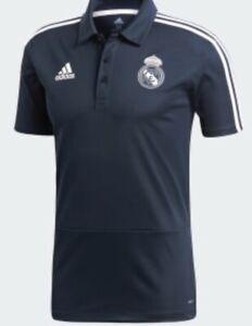 REAL MADRID ADIDAS POLO T-SHIRTS- DARK NAVY/WHITE- SIZES LARGE  - BRAND NEW