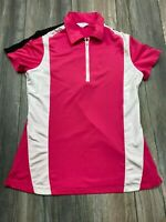 Callaway Womens Size Small Half Zip Athletic top Short Sleeve Polo Hot pink