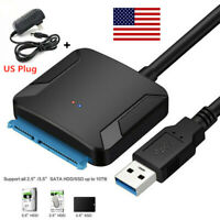 SATA to USB 3.0 2.5/3.5 inches HDD SSD Hard Drive Converter Cable + Wall Adapter