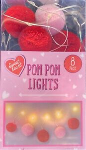 Valentines Day 8 Pom Pom Fairy lights Red Decoration- Valentines Day Decoration
