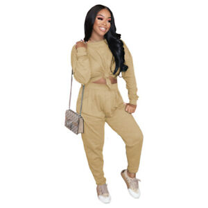 Fashion New Women's O Neck Long Sleeves Tied Patchwork Long Pants Set Outfits