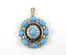 Fine Round Turquoise, Diamond & Sapphire Cluster Pendant 14K Yellow Gold 13.19Ct