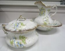 Antique Warwick China Blue Floral Wash Basin, Pitcher & Chamber Pot