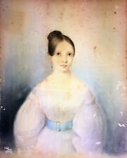 PORTRAIT OF ALEJANDRA CHARPENTIER AND LIRE. PASTEL ON CARDBOARD. SPAIN. CIRCA 18