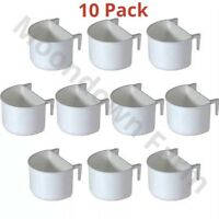 10 x PLASTIC D CUPS Bird Cage Feeder Pot 7.5cm With Hooks Finch Canary Budgies
