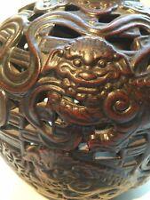 Antique Vinatge Chinese Yixing Zisha Clay Foo Dog Ceramic Vase