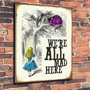 Alice In Wonderland We're All Mad Here Printed Canvas Picture Multiple Sizes