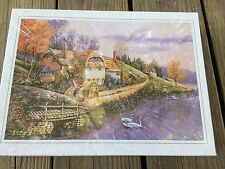 500 pc Puzzle Scenic Cottage Countryside Flowers Glows Serene Nature Sealed Swan