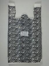 100 Qty Zebra Print Design Plastic T Shirt Retail Shopping Bags With Handles