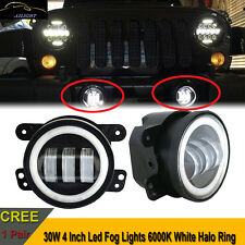 2x30W 4Inch Cree Led Fog Light White Halo Jeep Wrangler LJ JK TJ CJ Bumper Dodge