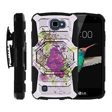 LG K4 / Optimus Zone 3   Black Hybrid Armor Case + Belt Clip Holster Cover