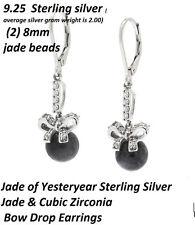 9.25 Sterling Silver Jade of Yesteryear Black Jade w/ CZ Drop Earrings Reg $95