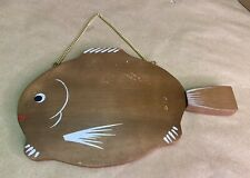 Vintage Fish Shaped Cutting Board Cheese Server Wood Metal Knife Tail Bar Decor