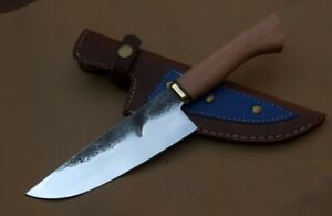 """HR KNIVES 11"""" 1095 HIGH CARBON STEEL CHEF KNIFE WITH WOOD HANDLE"""