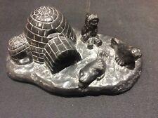 Handmade Al Wolf Canadian Inuit Soapstone Sculpture Carving Eskimo Igloo Seals