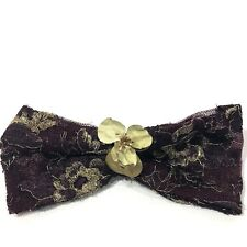 VINTAGE CHANEL Burgundy Gold Ribbon Bow HAIR CLIP Barrette