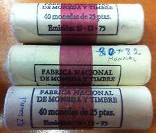 ESPAÑA:  cartucho 25 pesetas 1980 *82*  Mundial Futbol 1982 con  40 monedas s/c