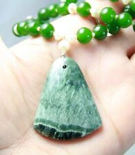V.PRETTY GREEN SERAPHINITE WHITE PEARLS CANADIAN JADE STERLING SILVER NECKLACE