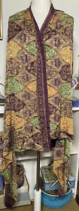 Vintage green Gold Purple paisley 100% silk hand Crafted large Scarf L7