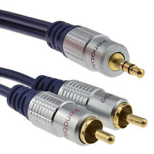 1.5m Pure HQ OFC 3.5mm Stereo Jack to 2 RCA Phono Plugs Cable Gold [008625]