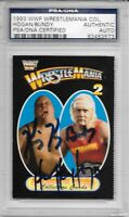 HULK HOGAN & KING KONG BUNDY Signed 1993 Coliseum Video Wrestlemania 2 CARD PSA