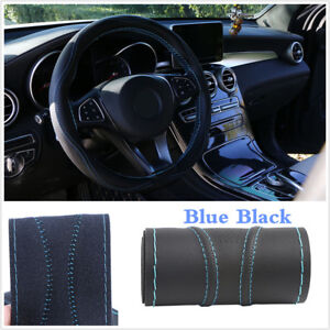 38cm Universal Micro Fiber Leather Car Steering Wheel Cover Protection W/ Needle