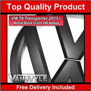 FOR VW T6 TRANSPORTER 2015> STYLE REPLACEMENT FRONT MATTE BLACK BADGE EMBLEM