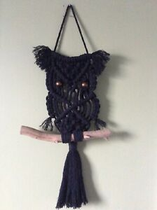 Large handmade black cotton macrame owl wall hanging birthday gift boho bird new