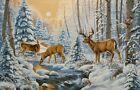 Gobelin Tapestry Panels Wild Animals Deer Naturlandschaft without Frame 52x34