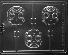 CHOCOLATE DECORATIVE HALLOWEEN SKULL CHOCOLATE LOLLIPOP LOLLY MOULD MOLD 3 ON 1