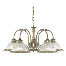 Searchlight American Diner 5 Lights Brass Clear Glass Ceiling Fitting Pendant