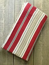 Pottery Barn Striped Fabric Shower Curtain Khaki Red 72x72