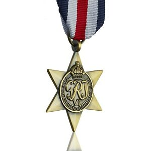 Full Size Replica France & Germany Star Medal & Ribbon. World War 2 Campaign WW2