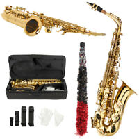 New Beginner Student Super Sound Paint Gold Eb Alto Saxophone Sax w/Case