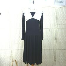 vintage Victorian governess style dress jersey with white collar black M D388