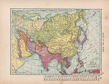 1909 MAP ~ ASIA ~ INDIA ARABIA PERSIA CHINESE RUSSIAN EMPIRE JAPAN PHILIPPINE