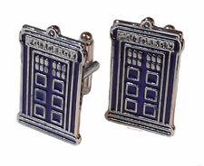 Doctor Who TARDIS POLICE BOX Silvertone/Enamel CUFFLINKS