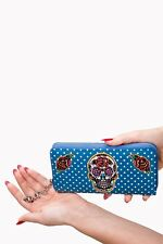 Sugar Candy Skull Polka Dots Gothic Teal  Wallet Rockabilly By Banned Apparel