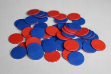 50 x TWO SIDED COLOUR LARGE ROUND PLASTIC COUNTER CHIPS BLUE RED FREE UK POST