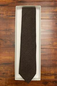 NWT $195 Anderson & Sheppard Virgin Wool-Blend Tie   Brown, 9cm