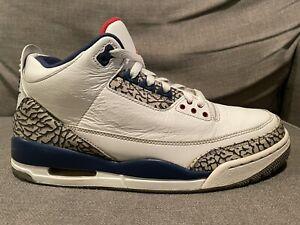 Nike Air Jordan 3 III Retro OG True Blue White Cement 854262-106 Men's Size 10