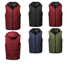 FashionOutfit Men's Casual Solid Quilted Light Padded Fur Lining Hoodie Vest
