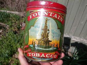 Antique Tin Litho Fountain Tobacco Humidor Can Vintage Covington KY Advertising