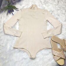Reinaldo Lourenco Beige Long Sleeve Bodysuit Ribbed Mock Neck Size Small $326