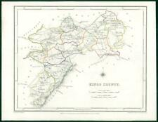 1845 IRELAND - Original Antique Map of KINGS COUNTY by Lewis with outline colour