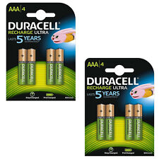 2X Pack of 4 Duracell AAA 850mAh Rechargeable Ultra Batteries NiMH LR03 HR03