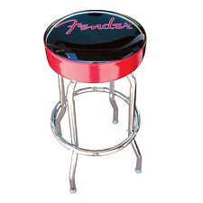 "Fender 30"" Bar Stool Soft Padded Cushion Top Chair Seat w/ Black/Red Logo"